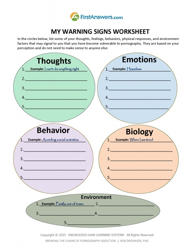 Printables Family Roles In Addiction Worksheets learn how to stop porn addiction and heal damage your relationships httpwww firstanswers comuploadsshopping cart52large my warning signs worksheet image jpg