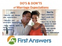 Marriage Expectations Do's and Don'ts