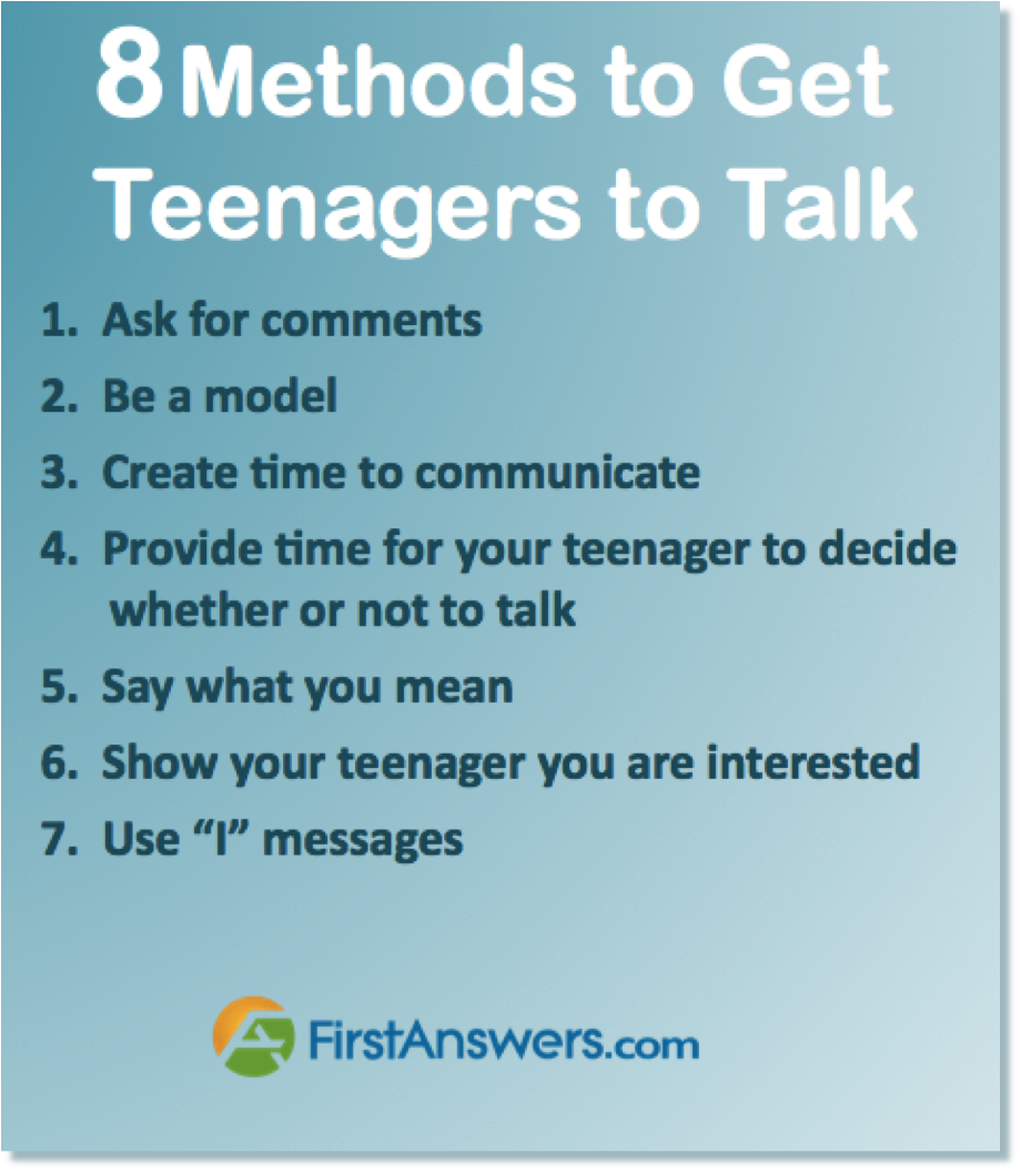 8 methods to get teenagers to talk